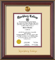 Image of Lynchburg College Diploma Frame - Cherry Lacquer - w/24k Gold Plated Medallion LC Name Embossing - Cream on Crimson Mat