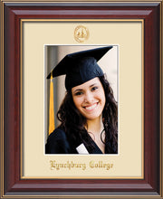 Image of Lynchburg College 5 x 7 Photo Frame - Cherry Lacquer - w/Official Embossing of LC Seal & Name - Single Cream mat