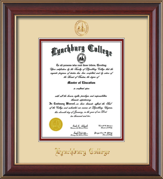 Image of Lynchburg College Diploma Frame - Cherry Lacquer - w/Embossed LC Seal & Name - Cream on Crimson mat