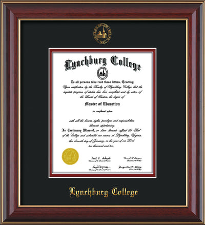 Image of Lynchburg College Diploma Frame - Cherry Lacquer - w/Embossed LC Seal & Name - Black on Crimson mat