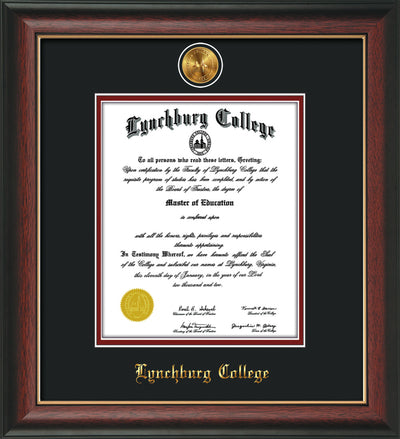 Image of Lynchburg College Diploma Frame - Rosewood w/Gold Lip - w/24k Gold Plated Medallion LC Name Embossing - Black on Crimson Mat