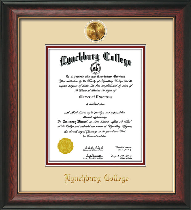 Image of Lynchburg College Diploma Frame - Rosewood w/Gold Lip - w/24k Gold Plated Medallion LC Name Embossing - Cream on Crimson Mat