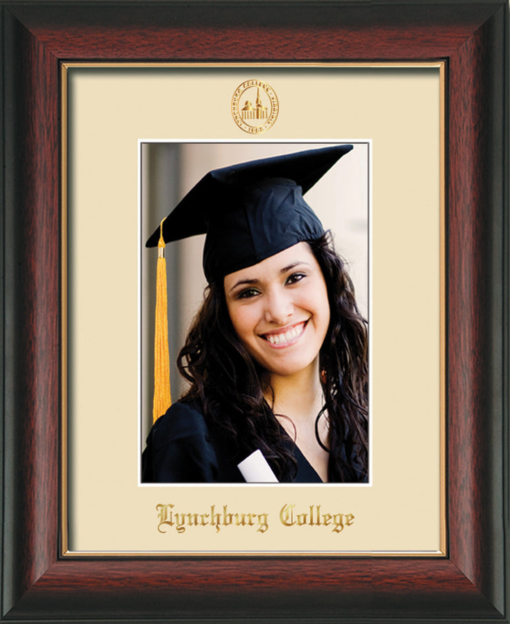 Image of Lynchburg College 5 x 7 Photo Frame - Rosewood w/Gold Lip - w/Official Embossing of LC Seal & Name - Single Cream mat