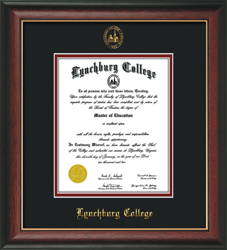 Image of Lynchburg College Diploma Frame - Rosewood w/Gold Lip - w/Embossed LC Seal & Name - Black on Crimson mat