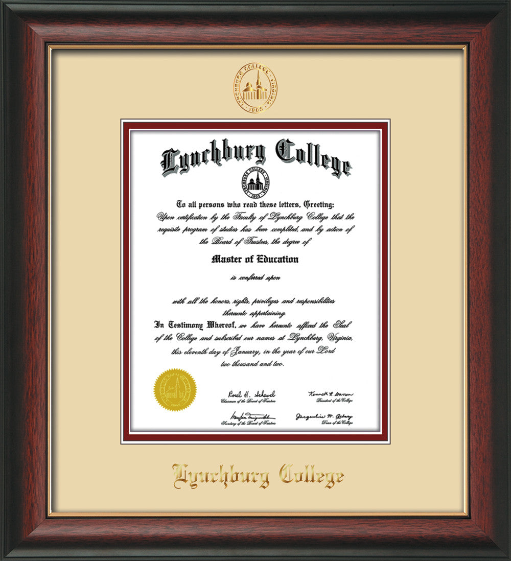 image of lynchburg college diploma frame rosewood wgold lip wembossed