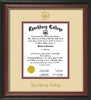 Image of Lynchburg College Diploma Frame - Rosewood w/Gold Lip - w/Embossed LC Seal & Name - Cream on Crimson mat