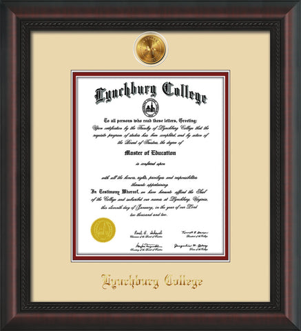 Image of Lynchburg College Diploma Frame - Mahogany Braid - w/24k Gold Plated Medallion LC Name Embossing - Cream on Crimson Mat