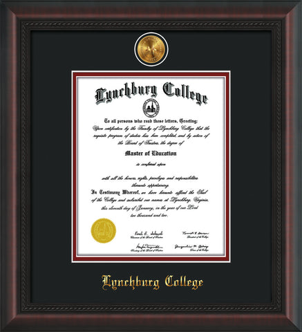 Image of Lynchburg College Diploma Frame - Mahogany Braid - w/24k Gold Plated Medallion LC Name Embossing - Black on Crimson Mat
