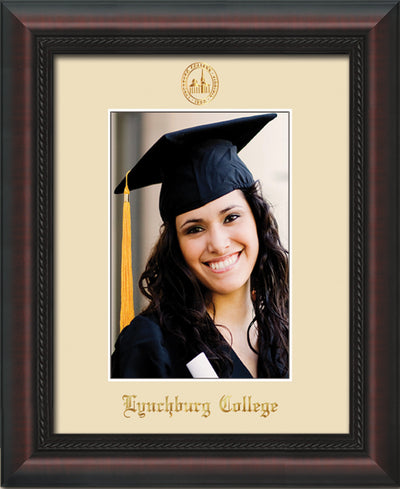 Image of Lynchburg College 5 x 7 Photo Frame - Mahogany Braid - w/Official Embossing of LC Seal & Name - Single Cream mat