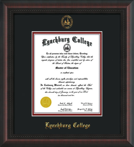Image of Lynchburg College Diploma Frame - Mahogany Braid - w/Embossed LC Seal & Name - Black on Crimson mat