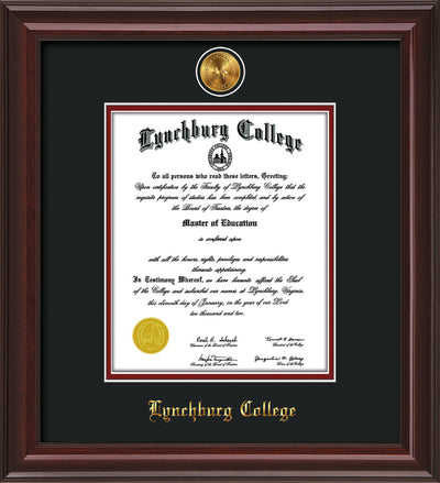 Image of Lynchburg College Diploma Frame - Mahogany Lacquer - w/24k Gold Plated Medallion LC Name Embossing - Black on Crimson Mat