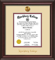 Image of Lynchburg College Diploma Frame - Mahogany Lacquer - w/24k Gold Plated Medallion LC Name Embossing - Cream on Crimson Mat