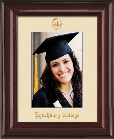 Image of Lynchburg College 5 x 7 Photo Frame - Mahogany Lacquer - w/Official Embossing of LC Seal & Name - Single Cream mat