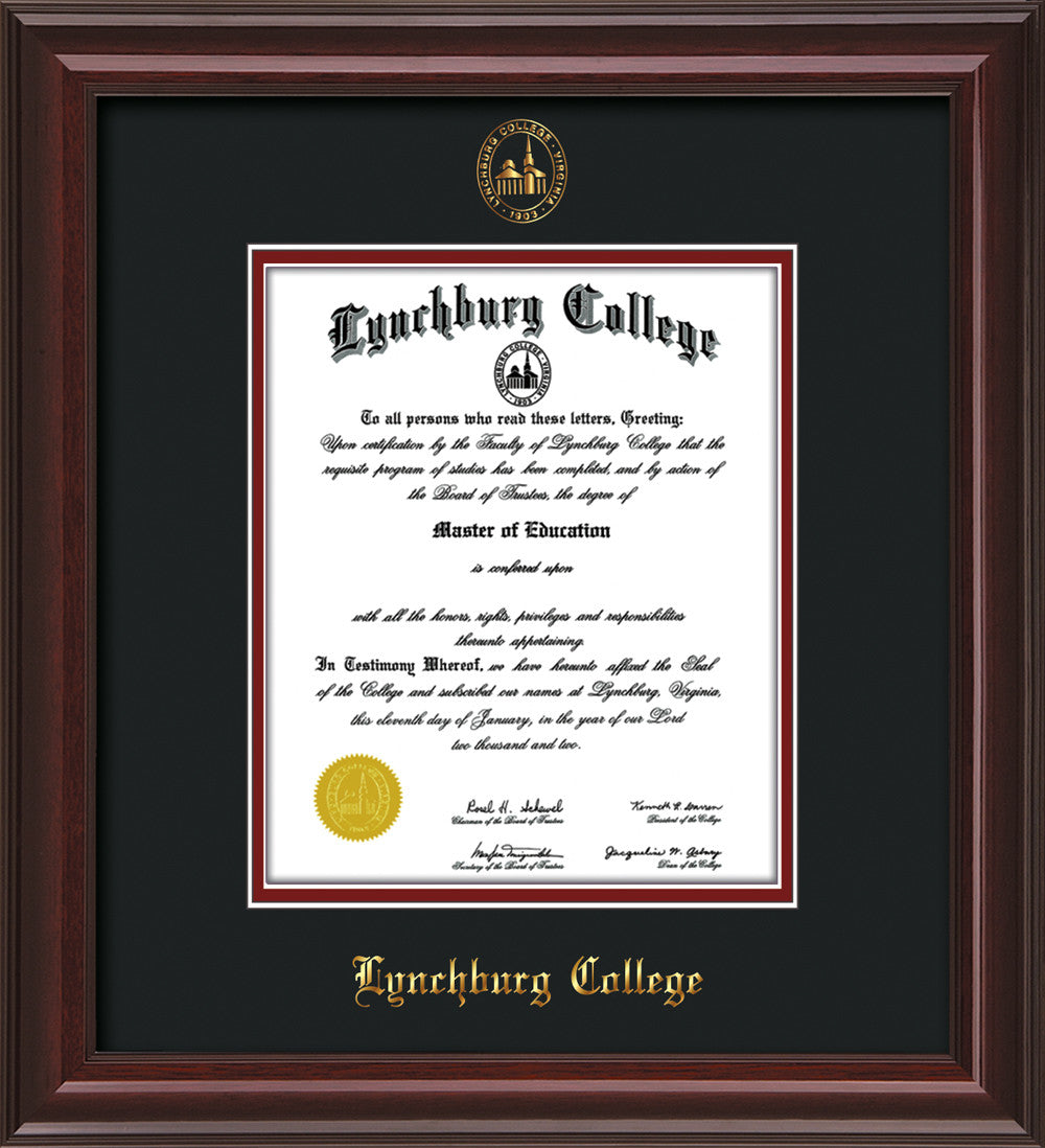 Lynchburg College Diploma Frame-Mah Lacquer-w/LC Seal-Black on ...