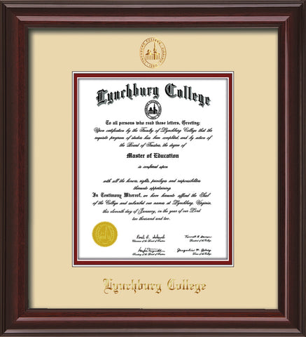 Image of Lynchburg College Diploma Frame - Mahogany Lacquer - w/Embossed LC Seal & Name - Cream on Crimson mat
