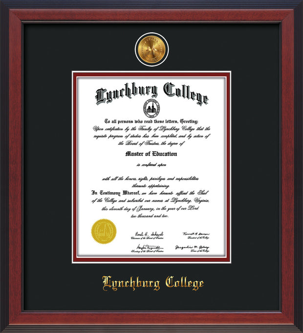 Image of Lynchburg College Diploma Frame - Cherry Reverse - w/Embossed LC Seal & Name - Cream on Crimson mat