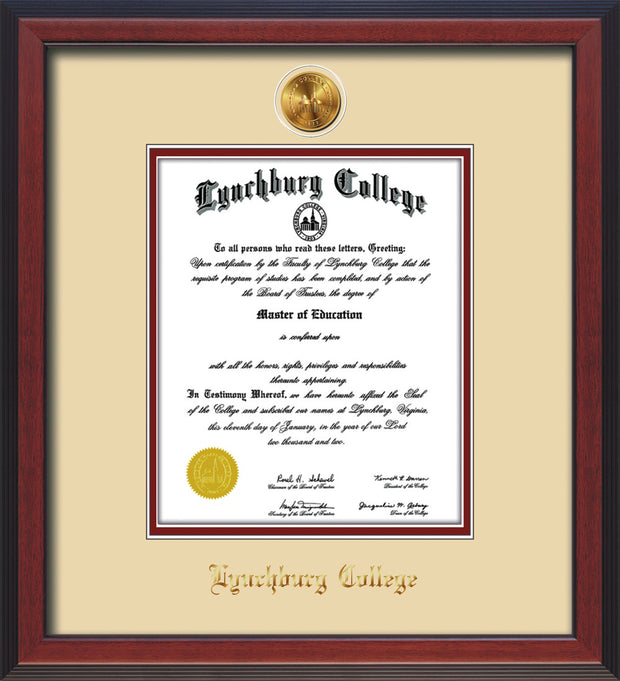 Image of Lynchburg College Diploma Frame - Cherry Reverse - w/24k Gold Plated Medallion LC Name Embossing - Cream on Crimson Mat