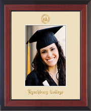 Image of Lynchburg College 5 x 7 Photo Frame - Cherry Reverse - w/Official Embossing of LC Seal & Name - Single Cream mat