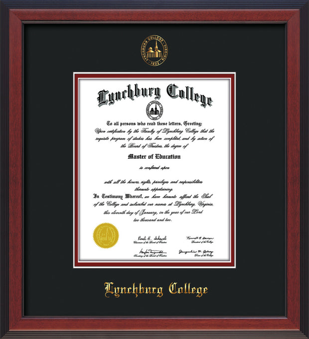 Image of Lynchburg College Diploma Frame - Cherry Reverse - w/Embossed LC Seal & Name - Black on Crimson mat