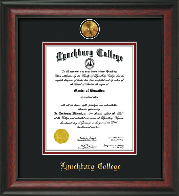 Image of Lynchburg College Diploma Frame - Rosewood - w/24k Gold Plated Medallion LC Name Embossing - Black on Crimson Mat