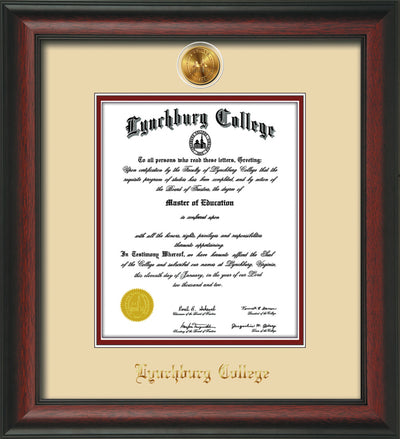 Image of Lynchburg College Diploma Frame - Rosewood - w/24k Gold Plated Medallion LC Name Embossing - Cream on Crimson Mat