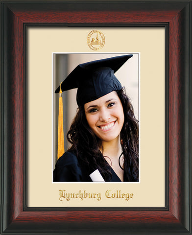 Image of Lynchburg College 5 x 7 Photo Frame - Rosewood - w/Official Embossing of LC Seal & Name - Single Cream mat