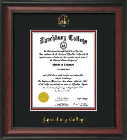 Image of Lynchburg College Diploma Frame - Rosewood - w/Embossed LC Seal & Name - Black on Crimson mat
