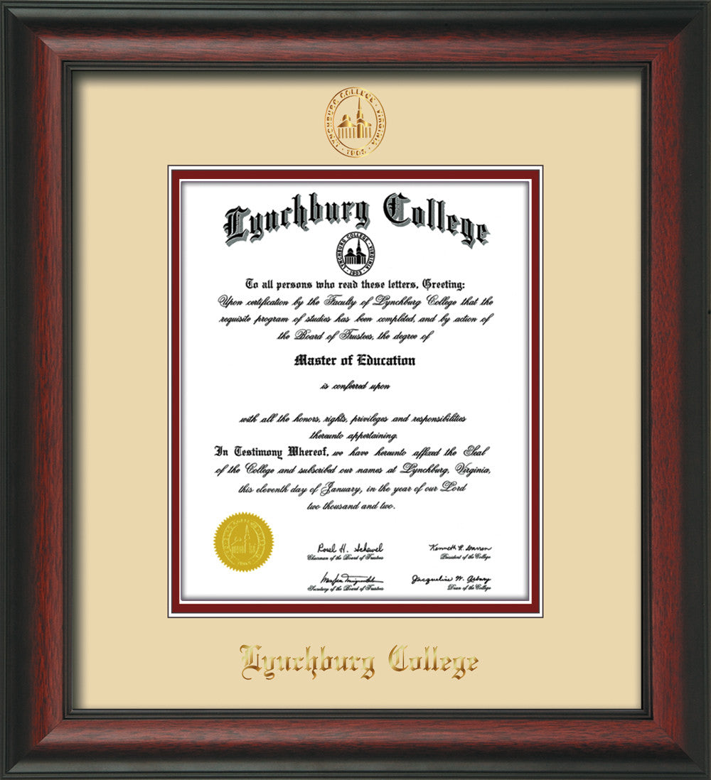 image of lynchburg college diploma frame rosewood wembossed lc seal name - Diploma Frames