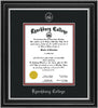 Image of Lynchburg College Diploma Frame - Satin Silver - w/Embossed LC Seal & Name - Silver Embossing - Black on Crimson mat