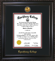 Image of Lynchburg College Diploma Frame - Vintage Black Scoop - w/24k Gold Plated Medallion LC Name Embossing - Black on Crimson Mat
