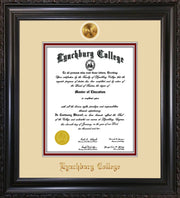 Image of Lynchburg College Diploma Frame - Vintage Black Scoop - w/24k Gold Plated Medallion LC Name Embossing - Cream on Crimson Mat