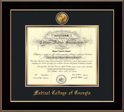 Image of Medical College of Georgia Diploma Frame - Black Lacquer - w/24k Gold-Plated Medallion - Black on Gold mat