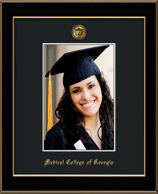 Image of Medical College of Georgia 5 x 7 Photo Frame - Black Lacquer - w/Official Embossing of MCG Seal & Name - Single Black mat