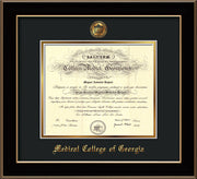 Medical College of Georgia Diploma Frame - Black Lacquer - w/Embossed MCG Seal & Name - Black on Gold mat