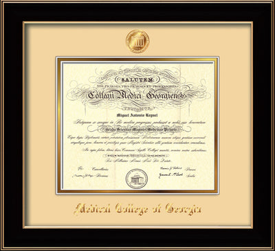 Image of Medical College of Georgia Diploma Frame - Black Lacquer - w/Embossed MCG Seal & Name - Cream on Gold mat