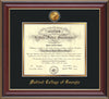 Image of Medical College of Georgia Diploma Frame - Cherry Lacquer - w/24k Gold-Plated Medallion - Black on Gold mat