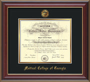 Image of Medical College of Georgia Diploma Frame - Cherry Lacquer - w/Embossed MCG Seal & Name - Black on Gold mat