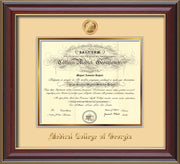 Image of Medical College of Georgia Diploma Frame - Cherry Lacquer - w/Embossed MCG Seal & Name - Cream on Gold mat