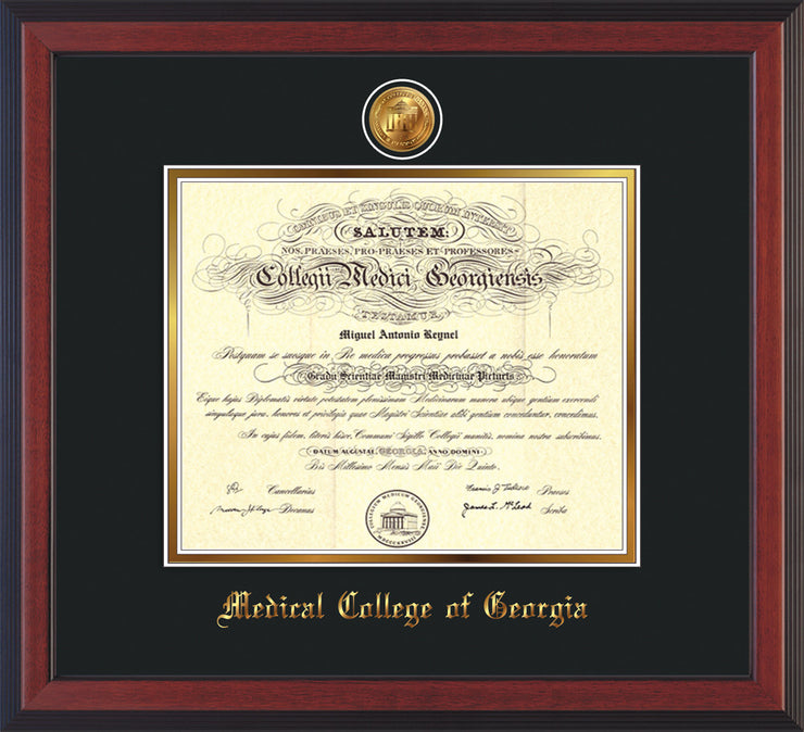 Image of Medical College of Georgia Diploma Frame - Cherry Reverse - w/24k Gold-Plated Medallion - Black on Gold mat