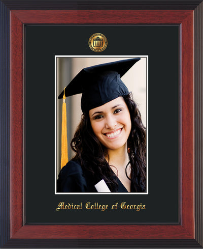 Image of Medical College of Georgia 5 x 7 Photo Frame - Cherry Reverse - w/Official Embossing of MCG Seal & Name - Single Black mat