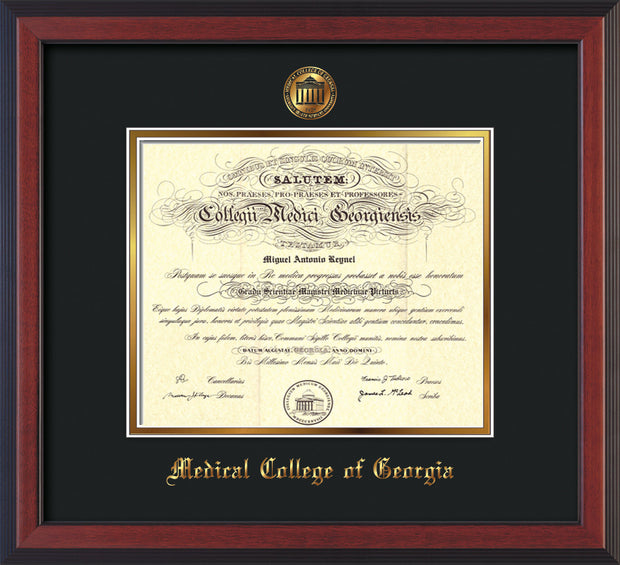 Image of Medical College of Georgia Diploma Frame - Cherry Reverse - w/Embossed MCG Seal & Name - Black on Gold mat