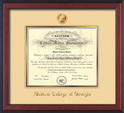 Image of Medical College of Georgia Diploma Frame - Cherry Reverse - w/Embossed MCG Seal & Name - Cream on Gold mat