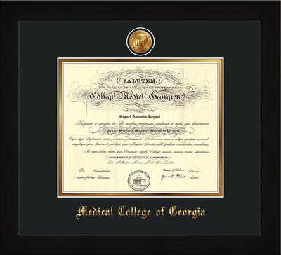 Image of Medical College of Georgia Diploma Frame - Flat Matte Black - w/24k Gold-Plated Medallion - Black on Gold mat