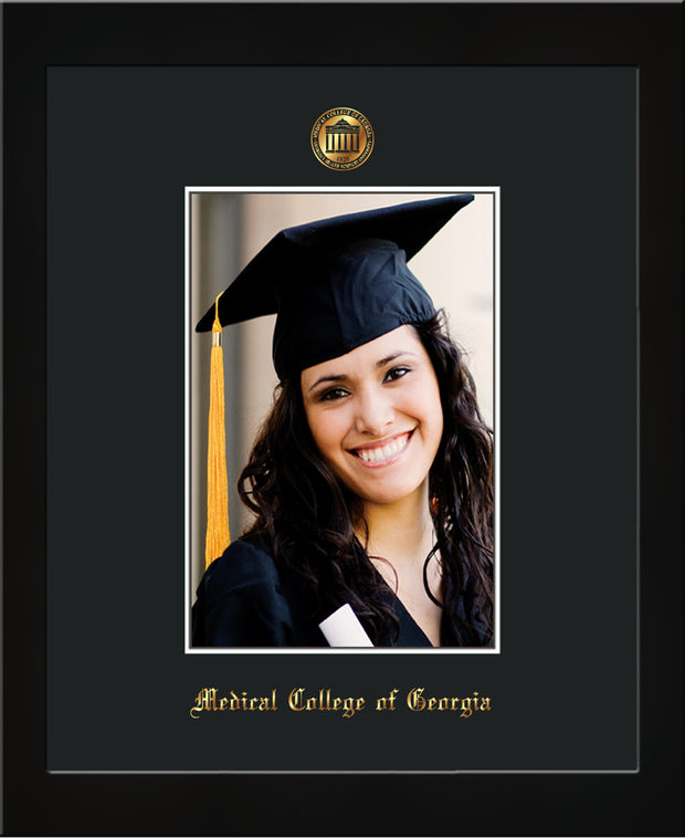 Image of Medical College of Georgia 5 x 7 Photo Frame - Flat Matte Black - w/Official Embossing of MCG Seal & Name - Single Black mat
