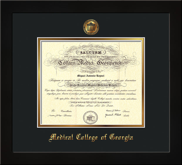 Image of Medical College of Georgia Diploma Frame - Flat Matte Black - w/Embossed MCG Seal & Name - Black on Gold mat