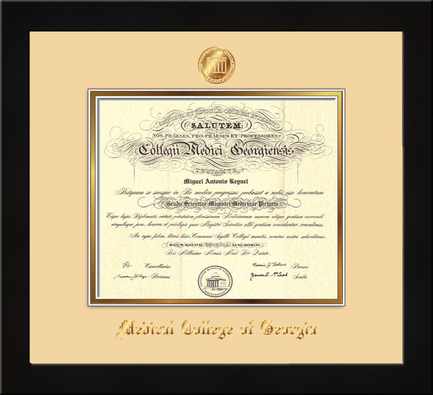 Image of Medical College of Georgia Diploma Frame - Flat Matte Black - w/Embossed MCG Seal & Name - Cream on Gold mat