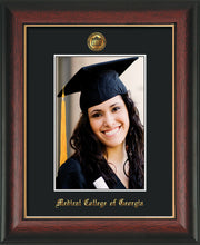 Image of Medical College of Georgia 5 x 7 Photo Frame - Rosewood w/Gold Lip - w/Official Embossing of MCG Seal & Name - Single Black mat
