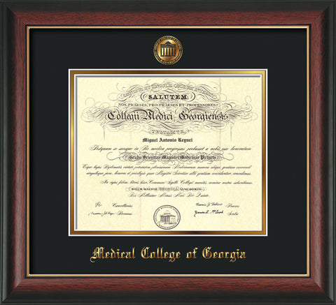 Image of Medical College of Georgia Diploma Frame - Rosewood w/Gold Lip - w/Embossed MCG Seal & Name - Black on Gold mat