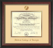 Image of Medical College of Georgia Diploma Frame - Rosewood w/Gold Lip - w/Embossed MCG Seal & Name - Cream on Gold mat