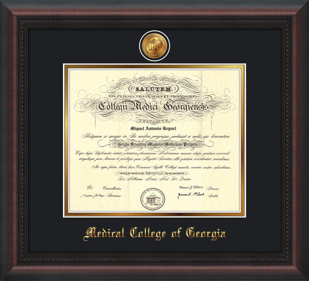 Medical College of Georgia Diploma Frame-Black Lacquer-Medallion ...